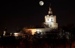 Spaso-Andronikov monastery at night with moon Royalty Free Stock Photos