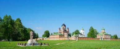 Spaso-Borodino修道院的全景 免版税库存图片