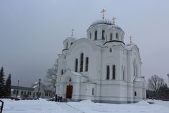 Spaso-Euphrosyne monastery is a women`s Orthodox monastery in Polotsk, Belarus. Winter time Royalty Free Stock Photography