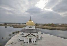 Spaso-Preobrazhenskaya kyrka i området Gasinci, Kyiv region Arkivbild