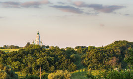 Spaso preobrazhensky修道院在乌克兰的mhar lubny区波尔塔瓦地区春天的,全景 库存照片