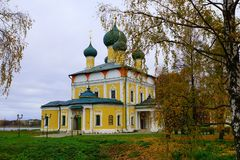 Spaso-Preobrazhensky Cathedral in the Kremlin of Uglich town on Volga river, Russia. stock photo