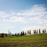 Spaso-Preobrazhensky Cathedral. Monastery fields. royalty free stock image