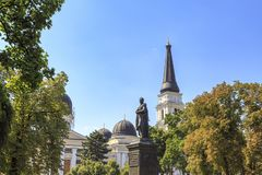 Spaso-preobrazhensky cathedral from cathedral square in Odessa stock images