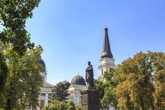 Spaso-preobrazhensky domkyrka från domkyrkafyrkant i Odessa arkivbilder