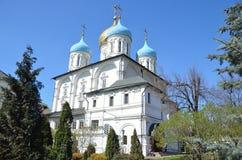 Spaso-Preobrazhensky domkyrka i den Novospassky kloster i Moskva Fotografering för Bildbyråer