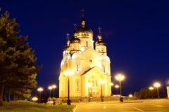 Spaso-Preobrazhensky domkyrka på natten Arkivfoto