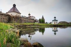 Spaso-Preobrazhensky Solovetsky monastery in murky weather Stock Photography