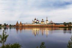 Spaso-Preobrazhensky the Solovetsky Stavropegial monastery on Bolshoy Solovetsky island in the White sea. Arkhangelsk region. View. From the Holy lake. Russia stock photography