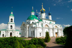 Spaso-Yakovlevsky Monastery in Rostov the Great. Belfry, Church of St. Iakov and Zachatievsky Cathedral of the Spaso-Yakovlevsky Monastery in Rostov the Great Royalty Free Stock Photos