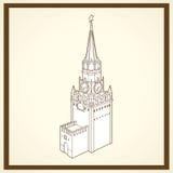 Spasskaja-Turmpostkarte Stockfotografie