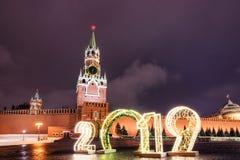 Spasskaya塔和2019年 冬天莫斯科在圣诞节和新年前 免版税库存照片