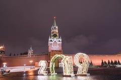 Spasskaya塔和2019年 冬天莫斯科在圣诞节和新年前 免版税图库摄影