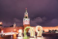 Spasskaya塔和2019年 冬天莫斯科在圣诞节和新年前 免版税库存图片