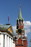 Spasskaya Clock Tower. This is a vertical image of the Spasskaya Clock Tower at the Kremlin in Red Square, Moscow, Russia Royalty Free Stock Photo