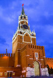 Spasskaya clock tower decorated by the red ruby star on the top royalty free stock images