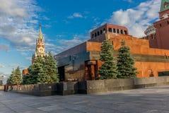 Spasskaya clock tower on the Kremlin walls  and Lenin mausoleum Stock Photography