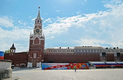 Spasskaya clock tower. Red Square in Moscow. Royalty Free Stock Images