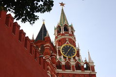 Spasskaya clock tower. Red Square in Moscow. Stock Photo
