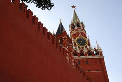 Spasskaya clock tower. Red Square in Moscow. Royalty Free Stock Photography