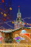 Spasskaya Kremlin Tower and Christmas Market, Moscow, Russia Royalty Free Stock Images