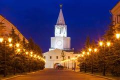 The Spasskaya Saviors Tower. The Spasskaya (Savior's) Tower at night, Kazan Kremlin in Russia. Spasskaya Tower serves as Kremlin main entrance royalty free stock photo