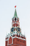 The Spasskaya (Saviour) Tower of the Moscow Kremlin with famous Stock Photo