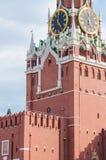Spasskaya torn av MoskvaKreml fragment Kreml chimes för nolla-` för shower fem klockan royaltyfri foto