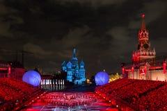 Spasskaya torn` på den röda fyrkanten Arkivbild