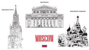 Spasskaya torn, Sankt basilikadomkyrka och stor teater som är landmar stock illustrationer