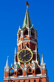 Spasskaya tower. The famous Spasskaya tower with its ruby star, Moscow. Russia stock photography