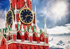 Spasskaya tower with clock. Russia, Red square, Moscow. Spasskaya tower with kremlin chimes close up. Russia, Red square, Moscow Kremlin royalty free stock photos