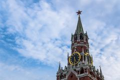 The Spasskaya Tower. Clock on Spasskaya tower in Moscow Kremlin royalty free stock photos