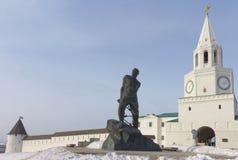The Spasskaya tower in Kazan Kremlin. And the monument to tatar poet Musa Jalil. Tatarstan. Russia stock photo