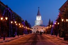 Spasskaya tower of the Kazan Kremlin at night. Spasskaya tower. Tower above the entrance to Kazan Kremlin. Russia Royalty Free Stock Photo