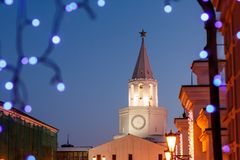 Spasskaya tower of the Kazan Kremlin at night. Spasskaya tower. Tower above the entrance to Kazan Kremlin. Russia Stock Photo
