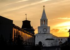 Spasskaya tower of Kazan Kremlin at sunset. royalty free stock photography
