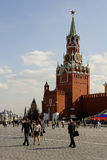 Spasskaya Tower of Kremlin. Red Square in Moscow before 9th May Stock Photo