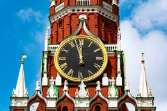 Spasskaya tower. With kremlin chimes close up. Russian Federation. Red square, Moscow Kremlin Royalty Free Stock Image