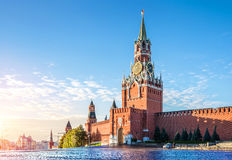 The Spasskaya Tower. Spasskaya tower of the Kremlin in the early autumn morning on the Red Square in Moscow Royalty Free Stock Photography