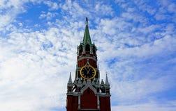 Spasskaya Tower of Kremlin. Spasskaya Tower of Moscow Kremlin on a background of blue sky Stock Photos