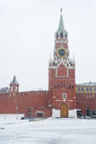 Spasskaya Tower of Kremlin in Moscow during snowstorm Royalty Free Stock Photos