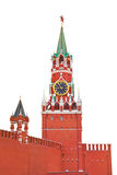 Spasskaya tower in Kremlin (Moscow)on white Stock Photo