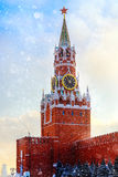Spasskaya Tower Kremlin Moscow winter sunset Red Square Royalty Free Stock Photography