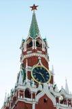SPASSKAYA TOWER, KREMLIN, RED SQUARE. Moscow Kremlin, Red Square. Spasskaya Tower and Kremlin clock Stock Image