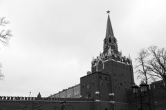 The Spasskaya Tower of the Kremlin. In Moscow Russia Stock Photo