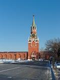 Spasskaya Tower of the Kremlin. View on the Spasskaya Tower of the Moscow Kremlin from Cathedral Square, built in 1491, landmark Stock Photo