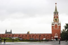 Spasskaya Tower and Kremlin Wall royalty free stock image