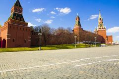 Spasskaya Tower. And Krmlevskaya wall of the Moscow Kremlin. Famous tourist attraction of the capital of Russia royalty free stock photo