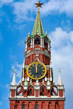 Spasskaya tower. Main clock of Russia on Spasskaya tower. Moscow Royalty Free Stock Images